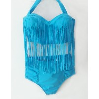 Plus Size Bikini Set Women Sexy High Waist Tassels Swimwear Fringe Brazilian Swimsuit Biquni