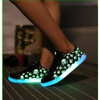 Luminous Glowing Casual Shoes Chaussure Femme Fashion Men Women Led Shoes For Adults Skull...