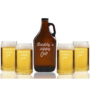 Daddy 's Sippy CupビールAmber Growler and can glasses ( Set of 5 )