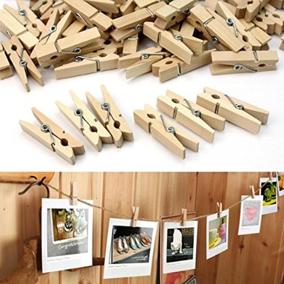 レック スーパー 小物まとめ干し ハンガー 100pcs/Lot 35mm Mini Wooden Clothes Pegs Pin Postcard Po Paper Hanging Clips...