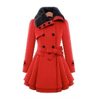 Women Slim Long Wool Double Breasted Jacket Thick Coat Ruffle Lapel Pea Coat Belted Trench Shawl...