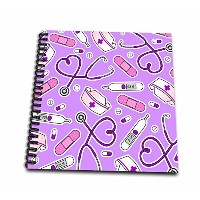 "Janna Salak Designs Occupational Gifts – Nurse Loveパターンパープル – Drawing Book 12 by 12"" db_185469_2"