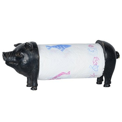 (Black Pig) - NIKKY HOME Metal and Resin Pig Paper Towel Holder, 13.75 x 16cm x 16cm , Black