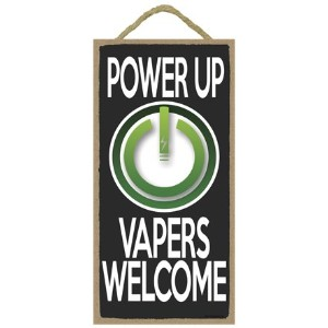 "( sjt13590 ) Power Up、Vapers Welcome 5 "" x 10 ""木製Plaque Sign"