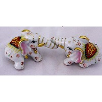 Feng Shui Elephants-hand Crafted and Decorated Porcelain,figurine 20620 (White)