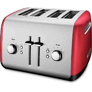 4-Slice Metal Toaster Oven Bread Home Kitchen Tabletop Electric Red Crumb Tray4スライスメタルトースターオーブンパンホーム...