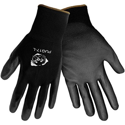Global Glove PUG17 Polyurethane/Nylon Glove, Work, Extra Large, Black (Case of 144) by Global Glove