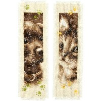 VERVACO - Bookmark(しおり) Cat & Dog Bookmarks クロスステッチ 刺繍キット2枚セット