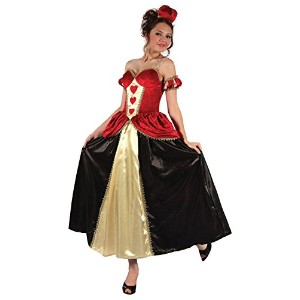 【Queen Of Hearts (Dress + Headband). (Adult Costumes) Female UK Size 10 14 - Red/Black】 b00mbtfwwo