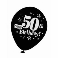 50TH Black Birthday Balloons by PartyMate