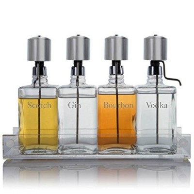 Liquor Decanter Bar Set with Chrome Pump Dispensers and Acrylic Tray, Contemporary Font by...