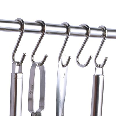 Mike Home 304 Stainless Steel Metal S Hook Kitchen Utensils Clothes Hooks Hangers Pack of 10