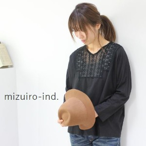 △△ mizuiro ind (ミズイロインド)mizuiro-ind.lace combi Vneck dolman P/O 2colormade in japan3-236953【★】