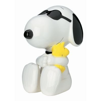 Vintage RARE Peanuts Joe Cool Snoopy & Woodstock Large Ceramic Bank by Westland