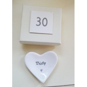 East of India Mini Heart Dish – thirty- 30th Birthdayギフト/ Present inボックス