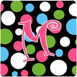 "Caroline 's Treasures cj1038-mfc monogram-polkadots andピンクFoam Coasters ( Set of 4 )、初期文字M、3.5 "" H..."