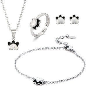 Cat PawペンダントネックレスセットガールズノベルティJewelery Gift by anotherkiss