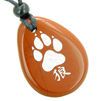 Lucky Wolf Paw漢字Spiritual Amuletレッドジャスパーペンダントネックレス
