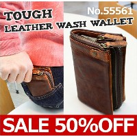 【50%OFF】【セール】TOUGH LEATHER WASH 55561 Brown 《二つ折り財布/縦型》 Wallet Collection メンズ コインケース [ レザーウォレット ] ...