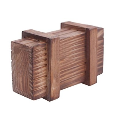 LuxBene(TM)BS#S Magic Compartment Wooden Puzzle Box With Secret Drawer Brain Teaser Educational...