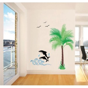Pop Decors Removable Vinyl Art Wall Decals Mural for Nursery Room, Dolphin and Coconut Tree by Pop Decors