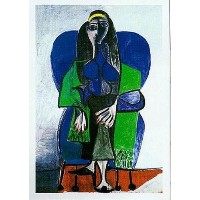 Woman W / Greenスカーフby Pablo Picasso 20X 16アートプリントポスター