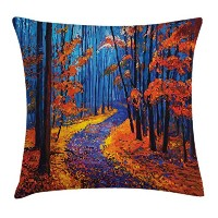 国スロー枕クッションカバーby Ambesonne、ダーク、Deep in the Forest in fall autumn season Calm Magical Natureアートペイント...