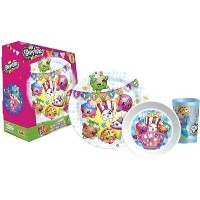 Zak! Designs Mealtime Set with Plate, Bowl and Tumbler featuring Shopkins Graphics, Break-resistant...