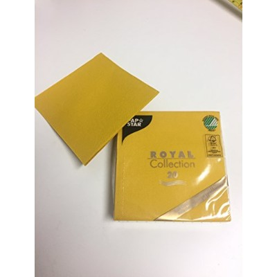 (Mustard Yellow) - Linen-feel, Cloth-like Paper Disposable Napkins 20 Pack Royal Collection 1/4...