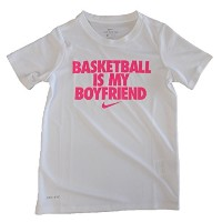 NIKEナイキ YTH D BASKETBALL IS MY BF Tシャツ 140cm AA3067 (106)ホワイト/ハイパーピンク
