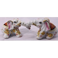 Feng Shui -Two Playing Elephants Hand Crafted and Decorated Fine Chinese Porcelain, Figurine 40155 ...