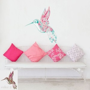 My Wonderful Walls Hummingbird Swirl Wall Sticker Decal, Peel and Stick and Removable, Pink...