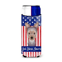 """Caroline 's Treasures bb2162muk """" God Bless American Flag with Yorkie Puppy Michelob Ultra Koozies..."""