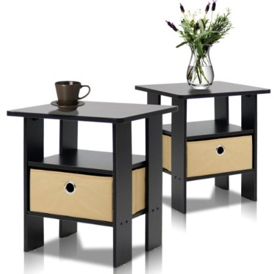 Furinno Petite End Table Bedroom Night Stand, Set of 2, Espresso by Furinno