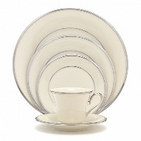 Lenox Solitaire Platinum-Banded Fine China 5-Piece Place Setting, Service for 1 [並行輸入品]