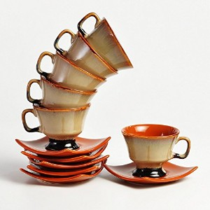 Kleo–ブラウンStudio Prince Cup and Saucer–セットof 6カップと6Saucers
