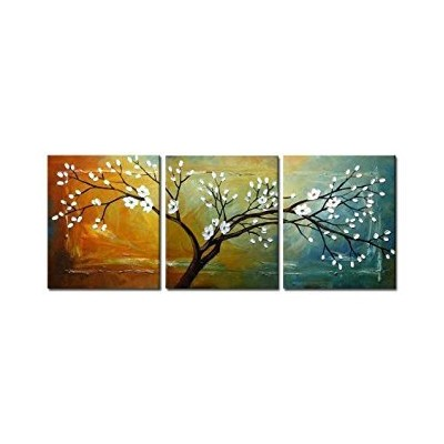 Wieco Art - Full Blossom Large Modern 3 Panels Stretched and Framed Flowers Artwork 100% Hand...