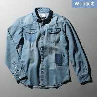 SALE【GUILD PRIME ギルドプライム】 -WEB限定-【AKMxLOVELESS・GUILD PRIME】MENS PATCHWORK DENIM SHIRT サックスブルー メンズ