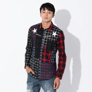 SALE【GUILD PRIME ギルドプライム】 【Education from Youngmachines】MENS パッチワークチェックシャツ レッド メンズ