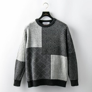 SALE【GUILD PRIME ギルドプライム】 【FDMTL】MENS SASHIKO WOOL SWEATER/FA17/NT31 チャコールグレー メンズ