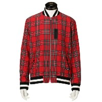 SALE【GUILD PRIME ギルドプライム】 【Education from Youngmachines】MENS タータンチェックMA-1 レッド メンズ
