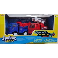 Junior Racers 2pk Pull Back Power Tow Truck & Fire Truck