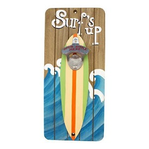 Wood Surfs Up Bottle Opener Wall Plaque 13 Inch Shaped Surfboard Bar Decor by Beachcombers [並行輸入品]