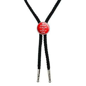 Keep Calm and Golf On–Crown Western SouthwestカウボーイネクタイBow Bolo Tie