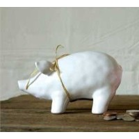 Ceramic Piggy Bank withラフィア弓
