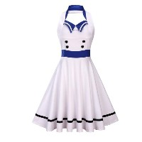 Womens Halter Elastic Backless Trailor Summer Dress 50s 60s Vintage Retro Style Pin up Rockabilly Sw