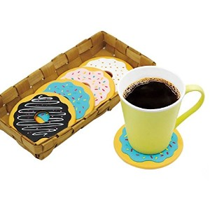 NEW 4 Pieces/lot Donuts Shape Coasters Drink Bottle Beverage Tea Coffee Cup Mats Silicone Pad Free...