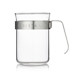 Barista & Co - Metal Frame Glass Cups - Electric Steel - Set of 2