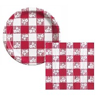【Perfect Picnic Red Gingham Dessert Napkins Plates Party Kit for 25 by Creative Converting [並行輸入品]】...