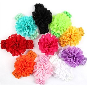 ROEWELL赤ちゃんのヘッドバンドのガールズシフォンヘアバンドHair Bows Head Wear Flower Middle 4328139756